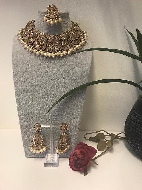 ROMIKA Blush Pink Choker Necklace Set