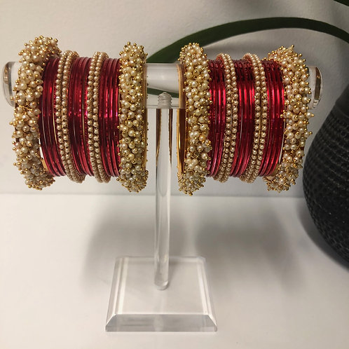 JIA Polki Red Bangle Set