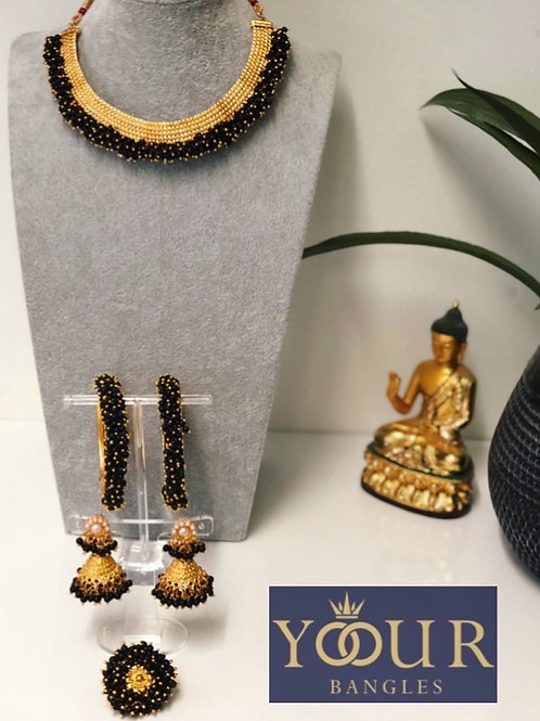 KHUSHI Midnight Black Polki Choker Necklace Set