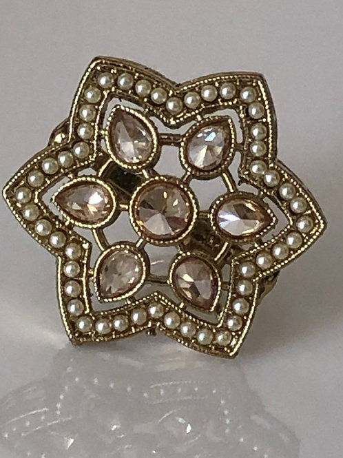 Antique Gold Adjustable Polki Ring