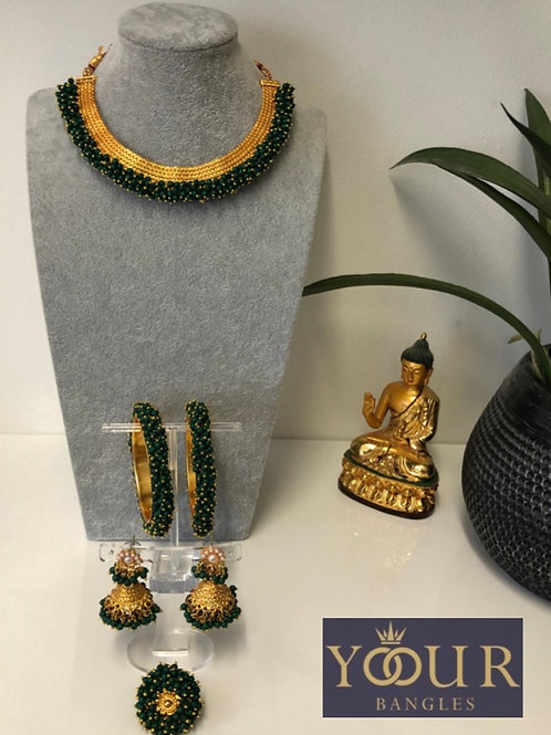KHUSHI Bottle Green Polki Choker Necklace Set