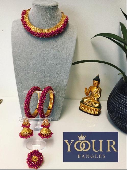 KHUSHI Hot Pink Polki Choker Necklace Set