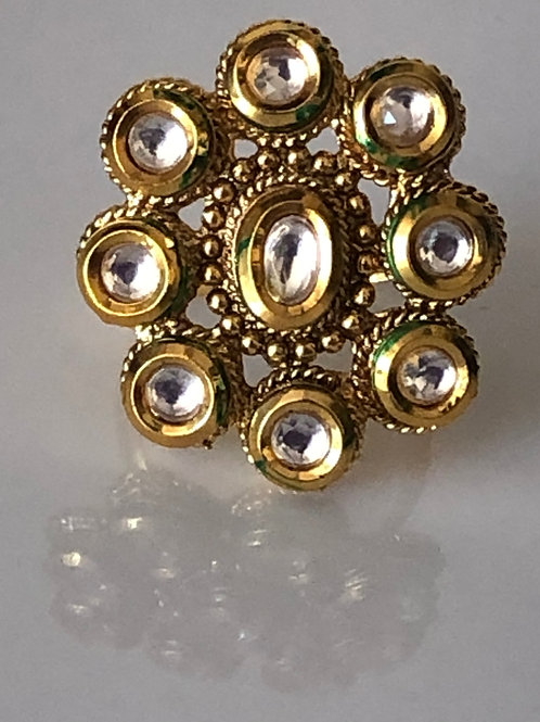 Gold Plated Kundan Styled Ring