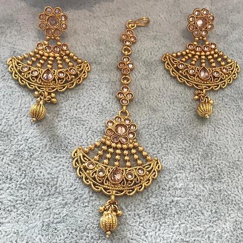 HEER Gold Plated Earring & Tikka Set