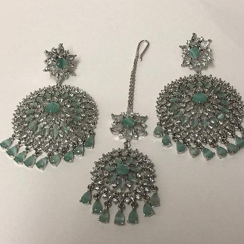 SIA Sea Green CUBIC ZIRCONIA Earrings Set