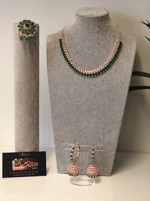 TANISHQ Emerald Green/Rose Gold CUBIC ZIRCONIA Necklace Set