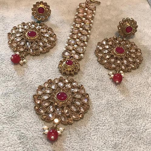KARISHMA Red/Gold Earring & Tikka Set