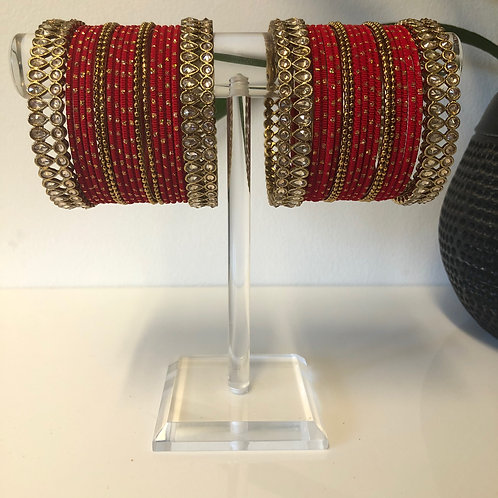 REGAL AntiqueGold, Red Bangle Set