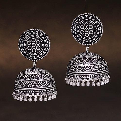 Party Wear Oxidised Silver Jhumka Earrings