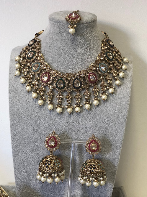 JHANVI Multi Choker Necklace Set
