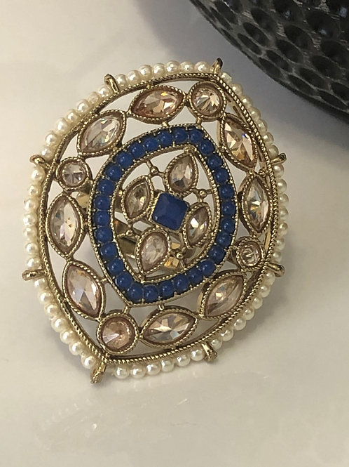 Royal Blue Large Adjustable Polki Ring
