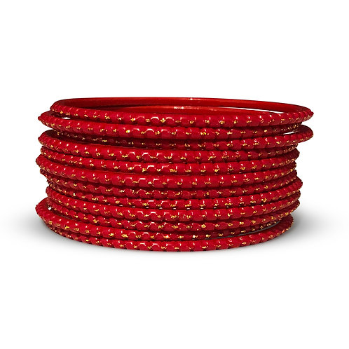 36 Red Dotted Bangles