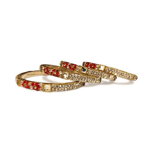 4 Red Floral Bangles Set (Kangans)