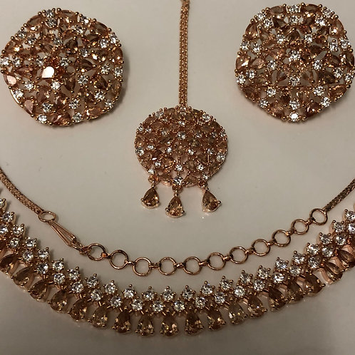 TANISHQ Champagne Gold CUBIC ZIRCONIA Necklace Set