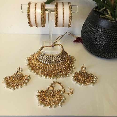 COMBO DEAL - Pearl White Polki Necklace Set (with Bangles Set)