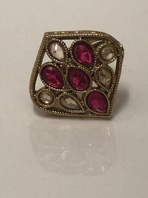Hot Pink Statement Kundan Styled Ring (Adjustable)