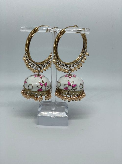 White MEENAKARI Jhumki Earrings (Hand Painted)