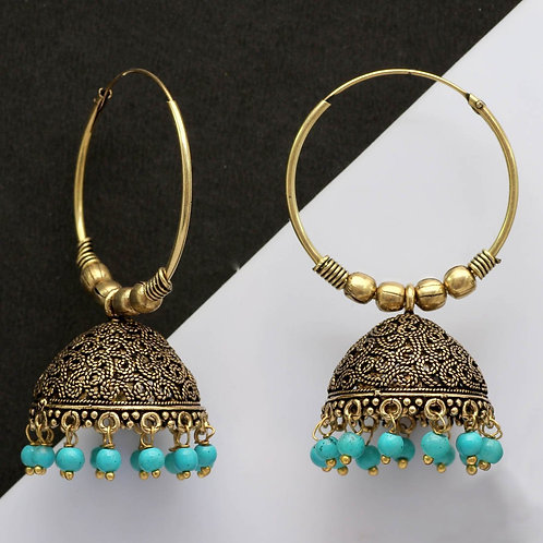 Sea Green Color Beads Traditional Jhumka Earrings