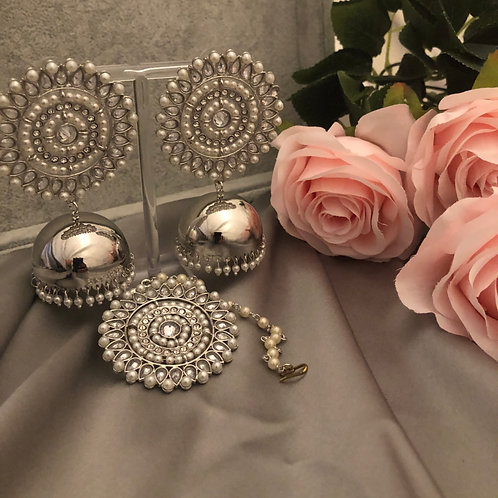 ALIA Silver Jhumki Earrings & Tikka Set