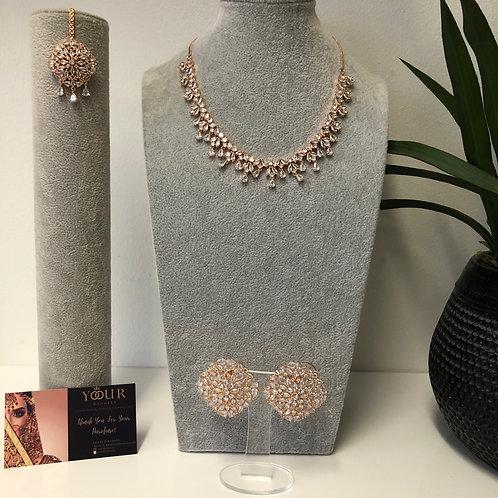 TANISHQ Golden CUBIC ZIRCONIA Necklace Set