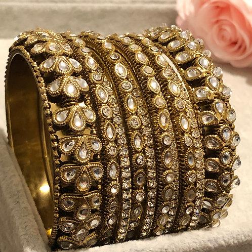 PALAK Antique Gold Kangans - Full Set