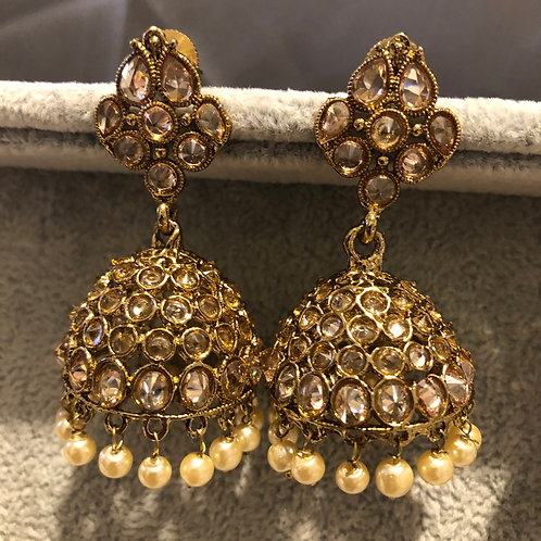 SIMRAN Gold Jhumki Earrings