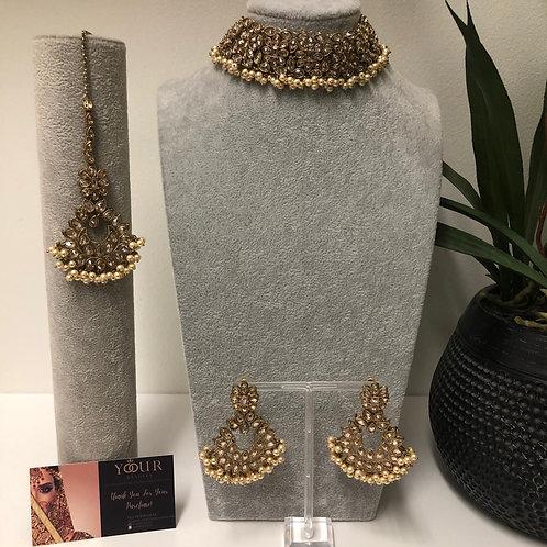 MISHKA Designer Floral Golden Choker Set