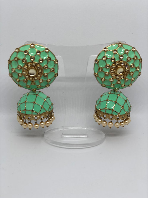 Mint MEENAKARI Earrings (Hand Painted)