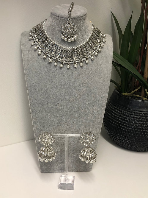 AAINA Pearl White Choker Necklace Set