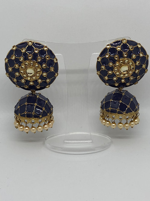 Navy MEENAKARI Earrings (Hand Painted)