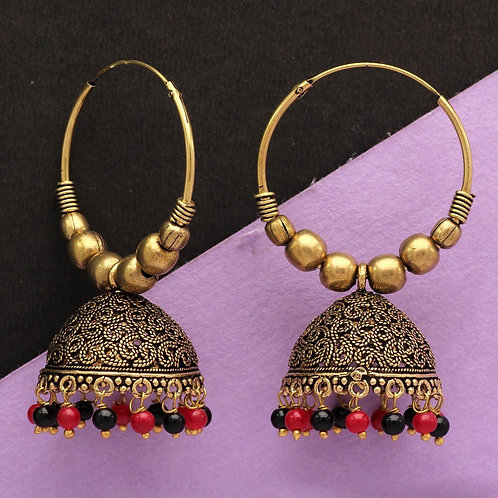 Maroon & Black Color Beads Traditional Jhumka Earrings