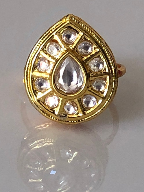REGAL COLLECTION - Kundan Ring in Clear Kundan