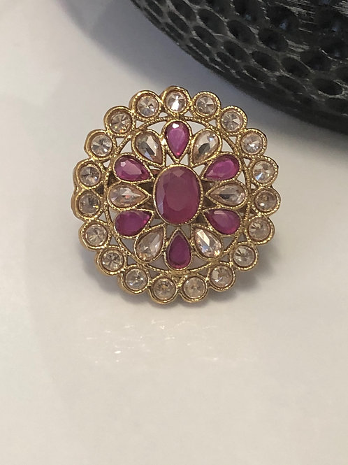 Antique Gold Ruby Pink Adjustable Statement Ring