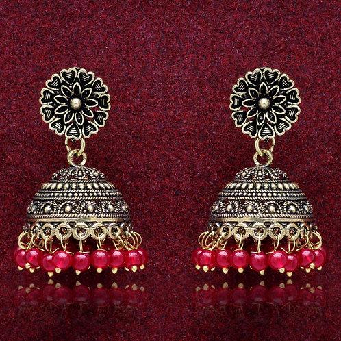 MAHIRA: Maroon Colour Beads Traditional Jhumka Earrings
