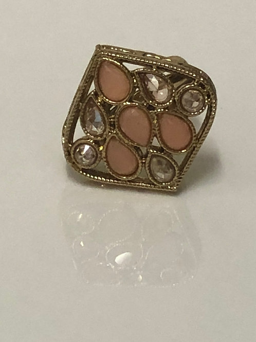 Peach Statement Kundan Styled Ring (Adjustable)