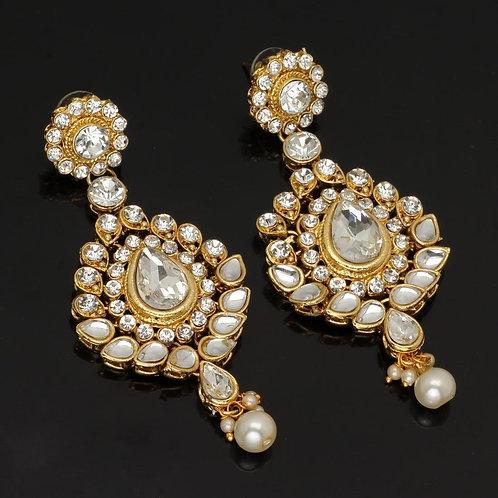 White Color Beautiful Kundan Earrings For Girls & Women