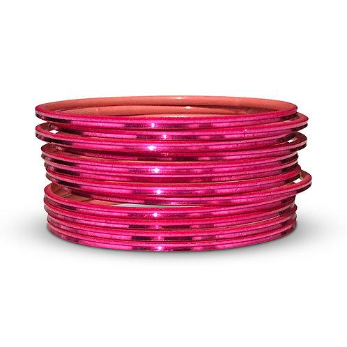 36 Hot Pink Shiny Bangles