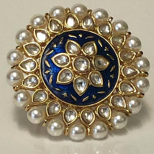 Regal, Royal Blue Meenakari & Kundan Ring