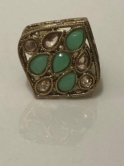 Mint/Pista Statement Kundan Styled Ring (Adjustable)