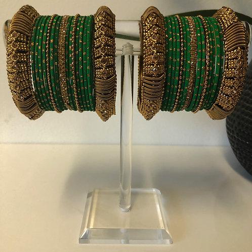 REGAL ZIA Emerald Green Bangle Set