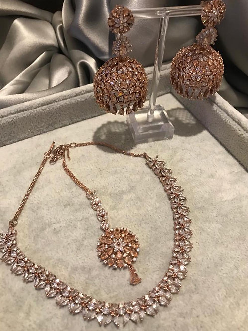 TANISHQ Rose Gold Jhumki & Necklace Set