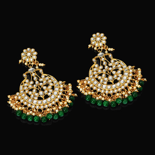 Festive Special Green Color Kundan Dangle Earrings
