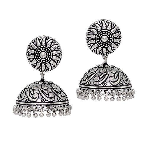 Oxidised Silver Plated Jhumka Earrings