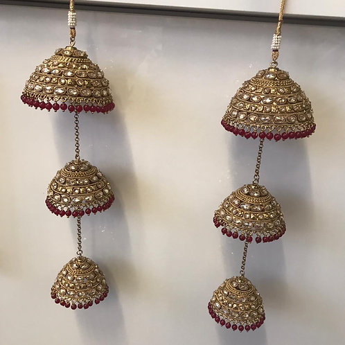 MAROON, ANTIQUE GOLD POLKI KALIRE