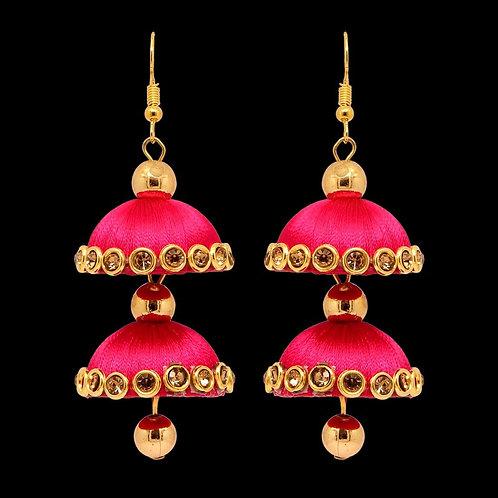 Rani Color Glass Stone Thread Earring