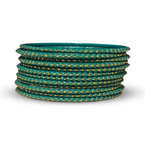 36 Turquoise Dotted Bangles