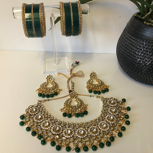 COMBO DEAL - Emerald Green Necklace Set (with Bangles Set)