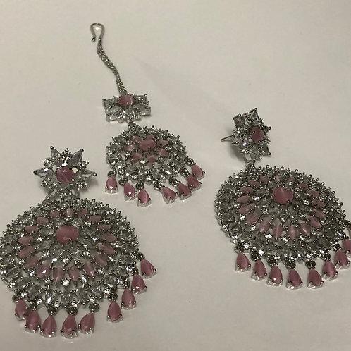 SIA Baby Pink CUBIC ZIRCONIA Earrings Set