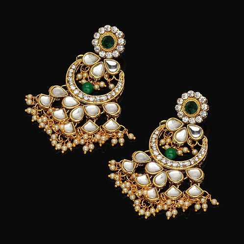 Festive Special Green Color Kundan Dangle Earrings