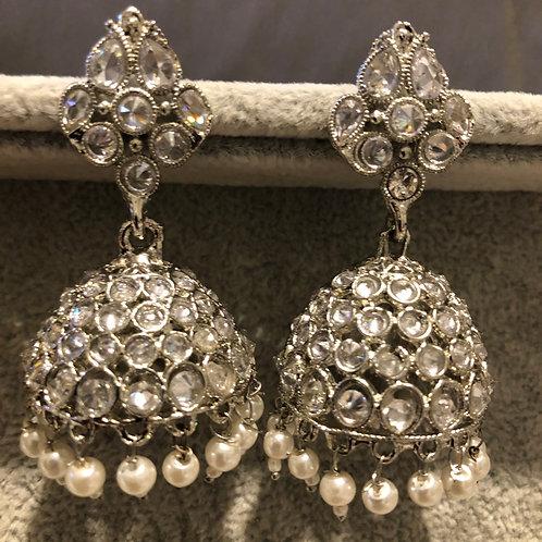 SIMRAN Silver Jhumki Earrings
